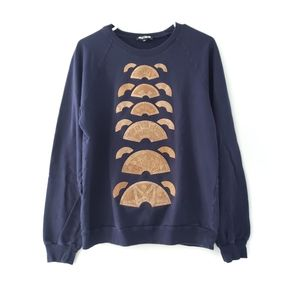 Holly Fulton Cork Embellished Cotton Navy Sweater